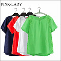 Summer Fashion Women T-shirt Short Sleeve O-Neck Lace Patchwork Cotton and Linen T-shirts Loose Tees Shirts Plus Size L - 4XL