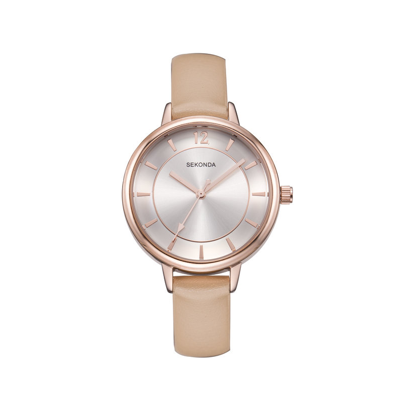 SEKONDA Elegant Women Watch Ladies Woman Big Face Dress Wrist Watches With Thin Creamy Color PU Leather Strap Jewelry Watch