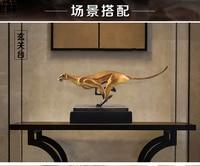 TOP ART collection 2019 HOME office LIVING ROOM Decor Success RETRO cheetah ART bronze statue sculpture Decoration