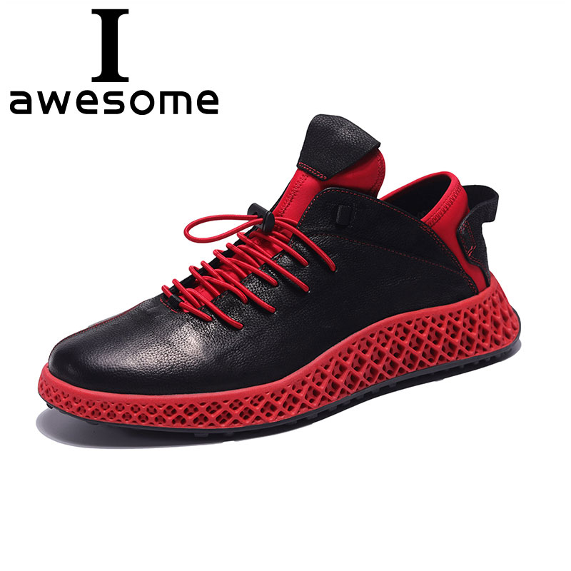 Top Quality Men's Genuine Leather Shoes Men All-match Red Casual Shoes Cowhide Breathable Sneaker Thick Bottom Fashion Male 0412 genuine leather men s leisure shoes spring summer all match cowhide soft bottom breathable sneaker fashion men casual shoes male