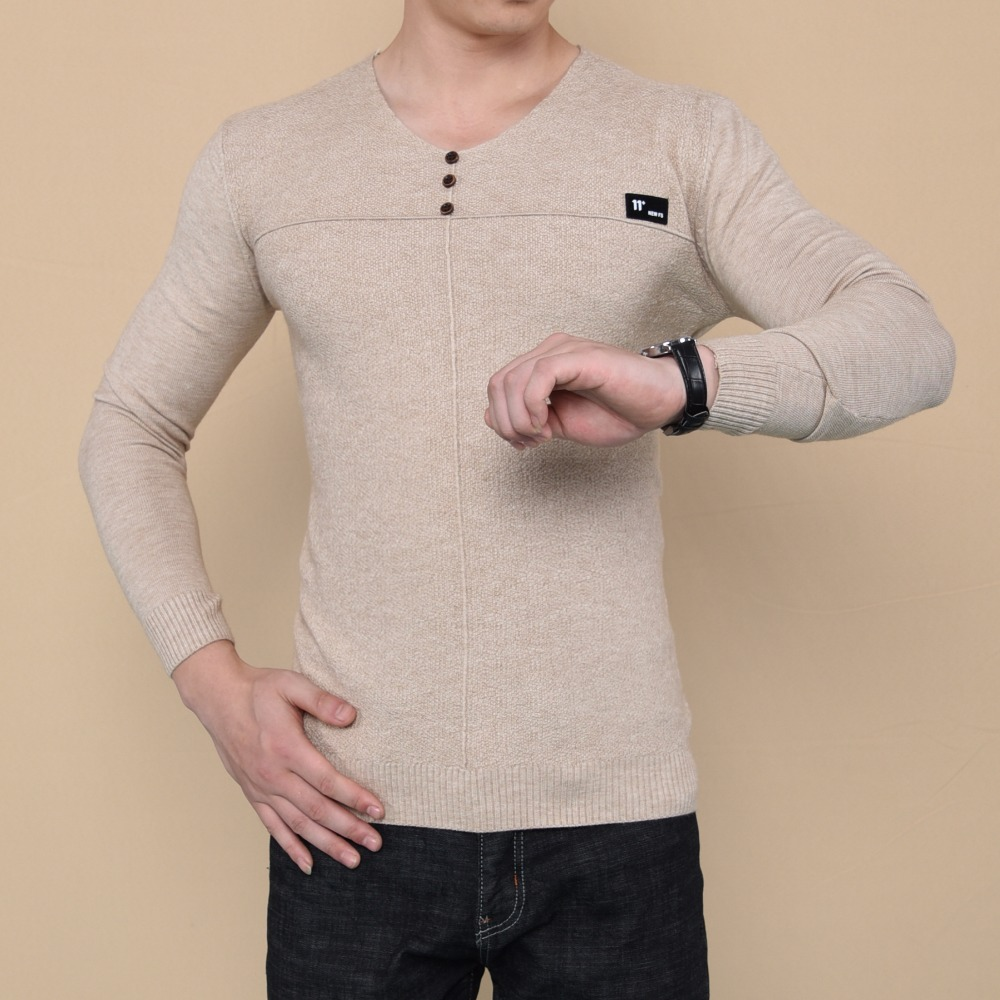Y2297-A1225 Men's v-neck knitwear spring autumn 2017 new youth bag core-core yarn Korean version long sleeve pullovers sweater