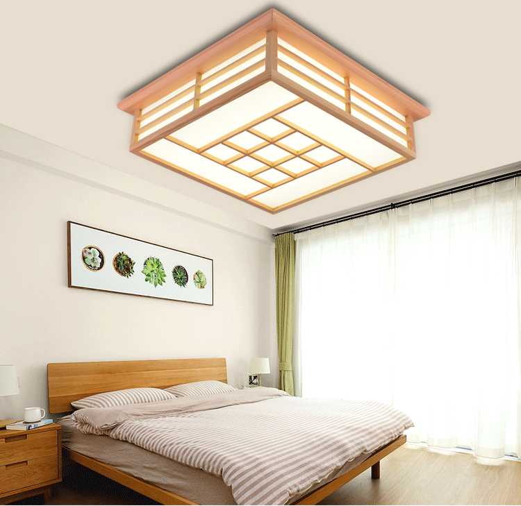 Japanese Tatami Led Ceiling Lamp Bedroom Ultra Thin: Solid Wooden Bedroom Lamp Study LED Sheepskin Ceiling
