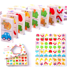 28pcs Wooden Domino Fruit Animal Recognize Blocks Dominoes Games Jigsaw Montessori Children Learning Education Puzzle Baby Toy