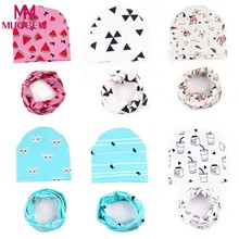 2018 Real Rushed Print Cute Baby Hat For Kids Clothes Matching With Scarf For Children Printed Infant Warm Crochet Knit Dresses(China)