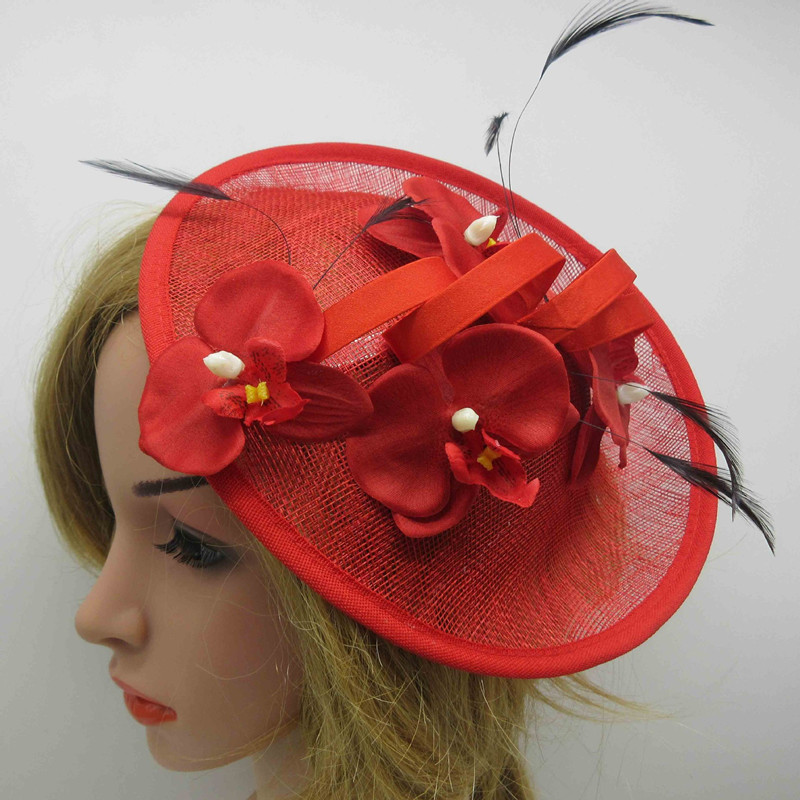 EVER FAIRY 25cm New Women Flower Fascinator Sinamay Hat Girls Wedding Party Church Fascinator Base Feather With Flower Hair Clip women s hats and fascinators vintage sinamay sagittate feather fascinator with headband tocados sombreros bodas free shipping