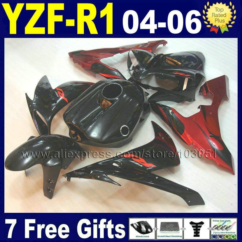 Инъекции мотоцикл для YAMAHA R1 обтекатель комплект YZF Р1 06 05 04 2005 2004 2006 большое пламя черный пользовательские обтекатели комплект