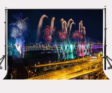 150x220cm City Night View Backdrop Colorful Burning Fireworks Photography Background 2018 New Year Celebration Party