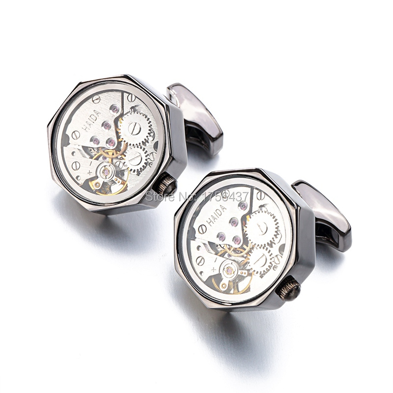 Promotion Immovable Watch Movement Cufflinks Stainless Steel Steampunk Gear Watch Mechanism Cuff links for Mens