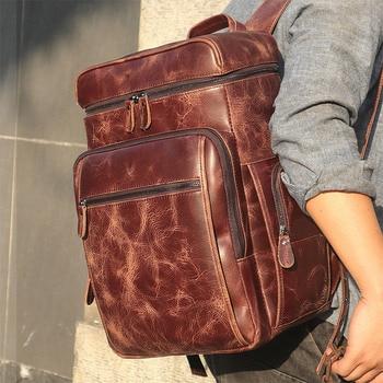 J.M.D Excellent Genuine Leather Laptop Backpacks Big Capacity Mens School Backpack Tote Bag 7202Q