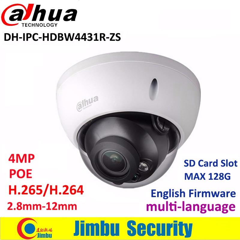 Dahua 4MP IP dome Camera IPC-HDBW4431R-ZS 2.8mm ~12mm varifocal motorized lens H2.65 IR50M with sd Card slot POE multi language dahua motorized lens 2 7mm to 12mm ip camera ipc hfw2320r zs 3mp poe cctv ip camera ir 30m day night vision security ip camera