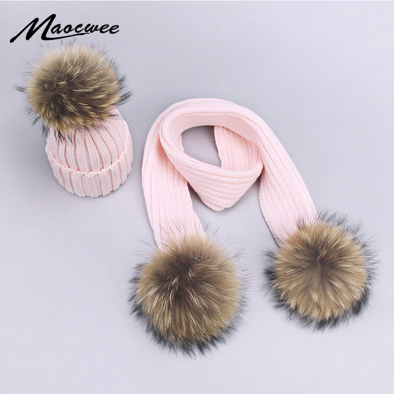 Children Adult Knitted Hat And Scarf Sets Winter Women Men Nature Fur Pompom Hat Cap Scarf Kids Baby Pom Pom Beanies Hats Bones