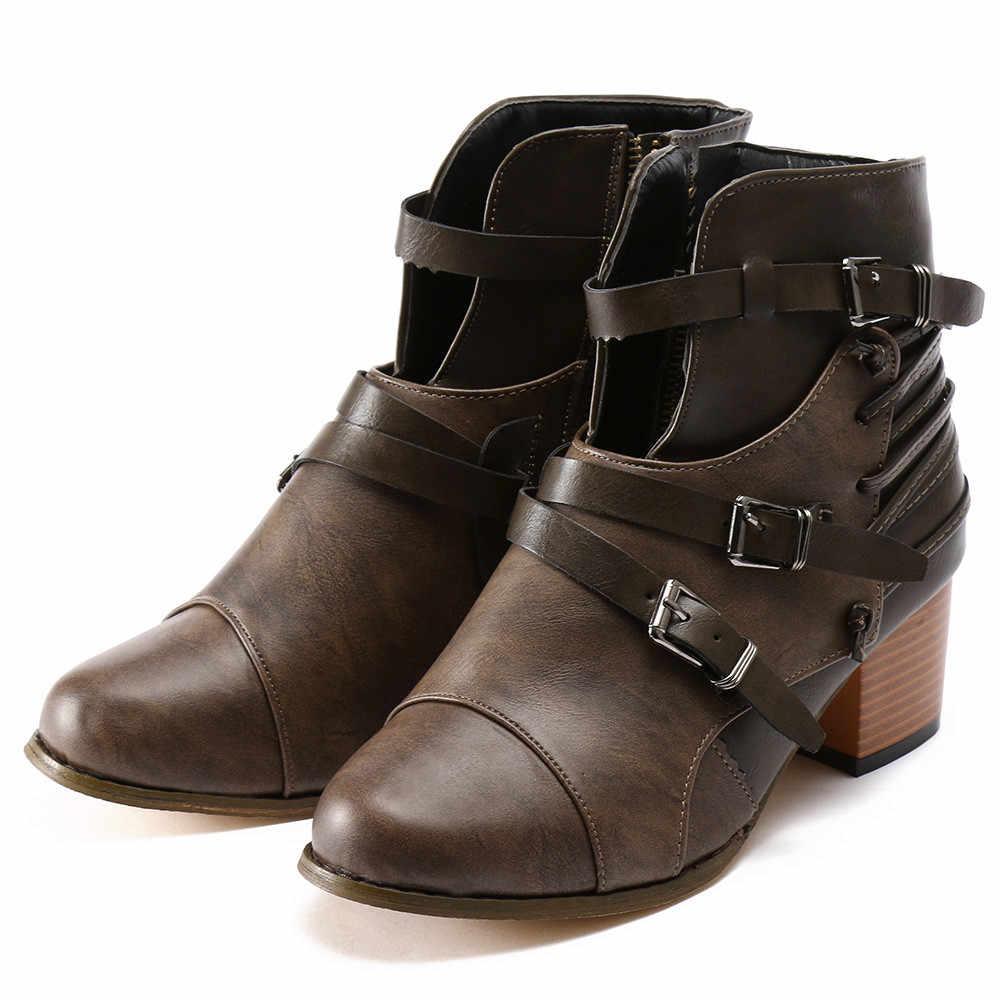 Женские зимние ботинки из 2018 кожи, короткие ботинки в британском стиле, женские ботинки на квадратном каблуке с пряжкой на ремешке, короткие ботинки