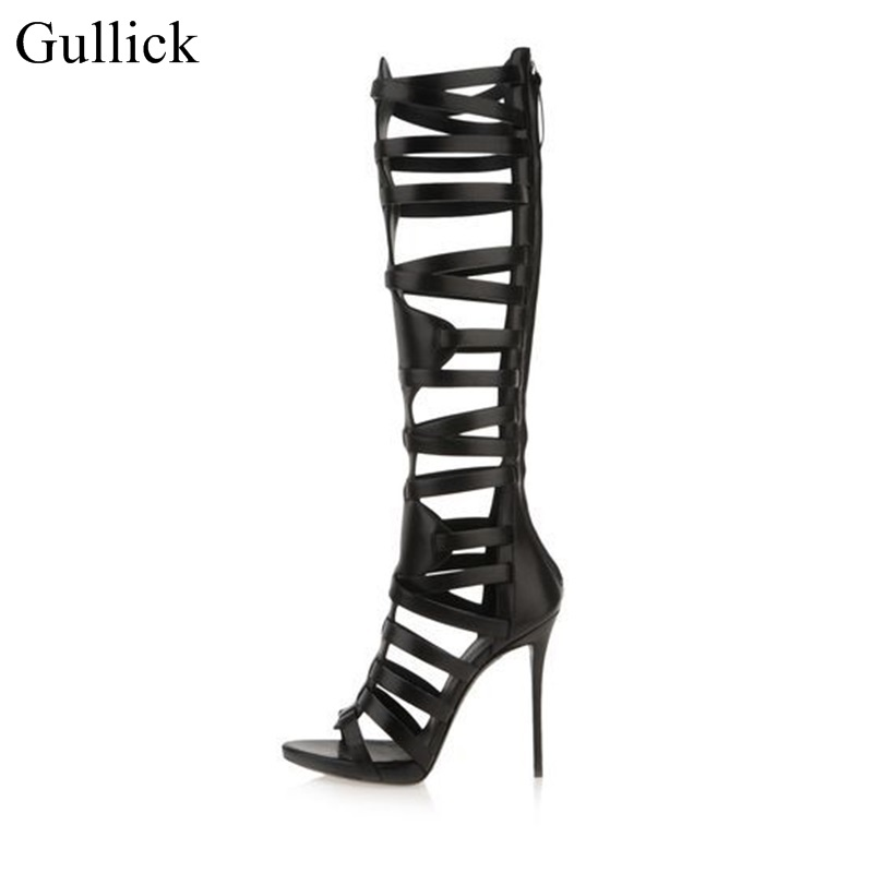 Gullick Cut-out Strappy Sandal Boots For Women Peep Toe Thin Heels Gladiator Sandals Boots Knee High Black Leather Boots