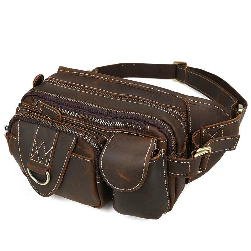 2018 мужские дорожные сумки из натуральной кожи, Мужская поясная сумка, поясная сумка из коровьей кожи - 2