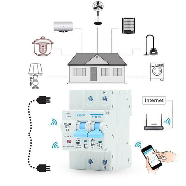 Disjuntor inteligente, vida inteligente 2p 40a controle remoto wi fi/supercarga do interruptor inteligente, proteção de curto circuito para casa inteligente