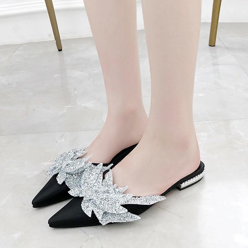 slippers women new Korean version of pointed half slippers flat bottom water drill beach lazy shoes women flip flops Muller