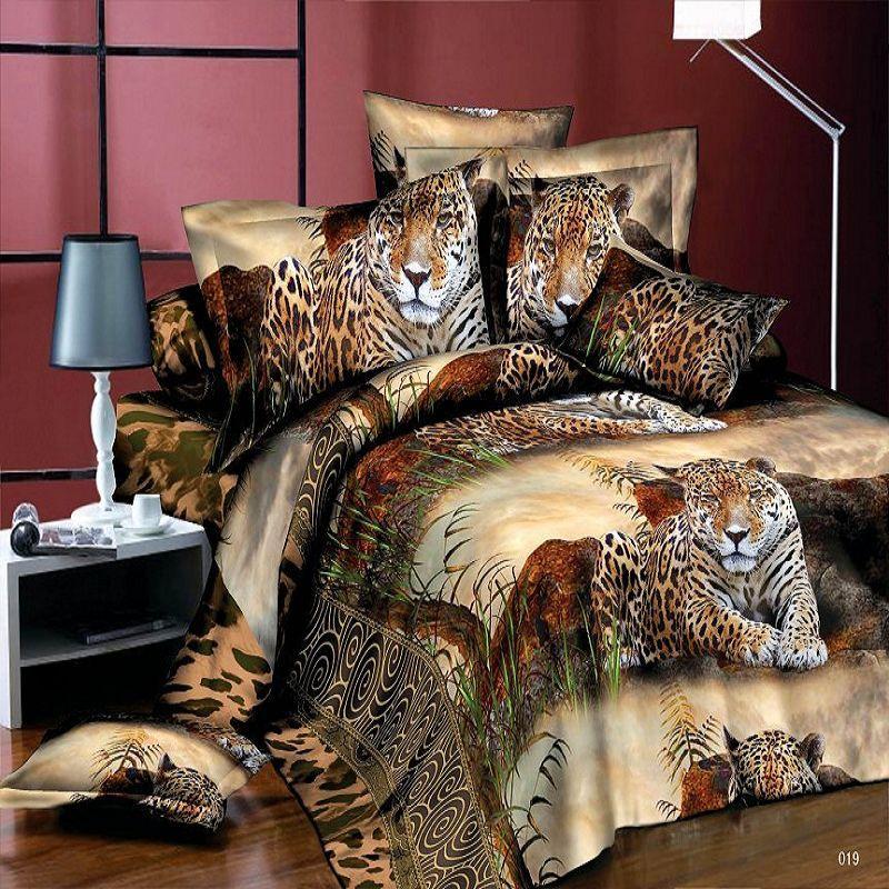 3d Sex Bedding Sets Tiger Leopard Printed Queen Size 4pcs