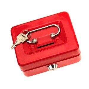 Image 5 - مصغر النثرية النقدية صندوق من الاستانلس ستيل قفل الأمان قابل للقفل معدن آمن صغير يصلح ل ديكورات منزلية 4.9*3.7*2.2 بوصة