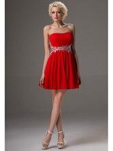 Echt Lässige Kurze Abschlussball-kleider A-line Perlen Chiffon Red Crystals 2016 Mädchen Graduation Cocktail Kleider CD9621