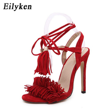 4c0f414be361 Eilyken Gladiator Women Sandals Ankle Strap Open Toe Shoes Lace Tassel  Wedding Women Sandals Party Ladies Sandals Heels Red