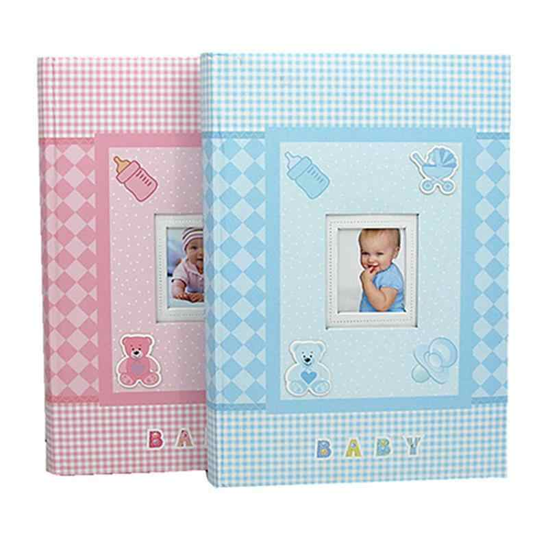 "6"" Baby Memory Book Photo Album Creative Modern Photo Album Keepsake Journal For Baby Pink And Bule"