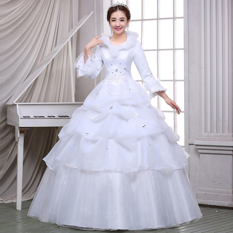 2018 Backlackgirls New Arrival O-neck Ball Gown Lace Up Beaded Floor-length  Wedding Dress Marry Serve White Cotton Long Sleeve