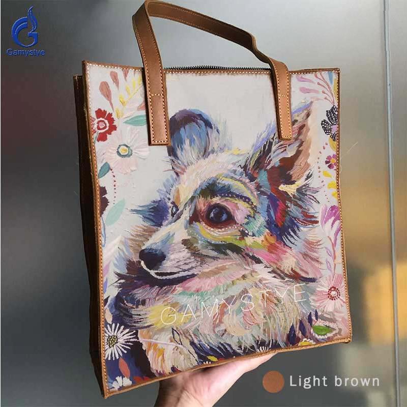 GAMYSTYE Print Art Flower DOG FOX Messenger Bag Women Shoulder Bag Female Bag Ladies Genuine Leather Bags For Women Handbags цена 2017