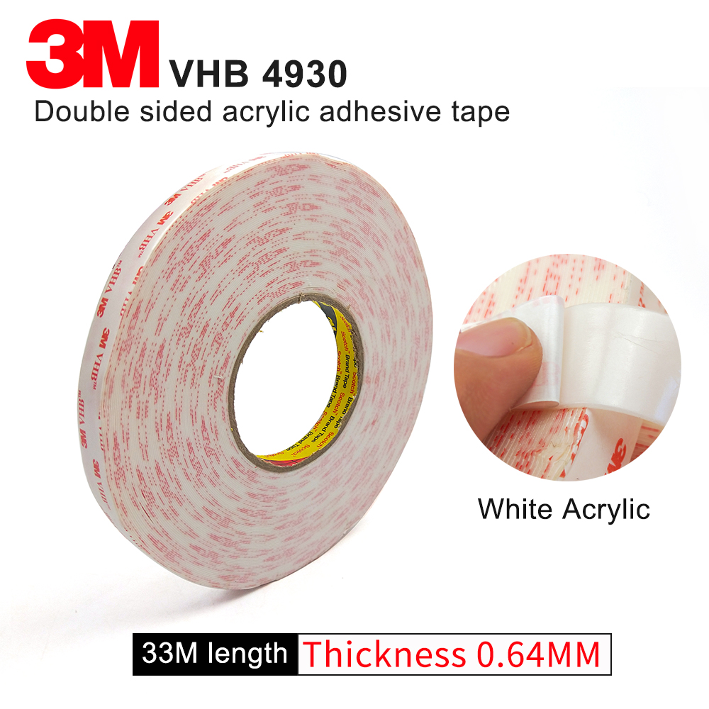 10 20MM wide 3M VHB 4930 thickness 0.64mm two sided acrylic adhesive tape/high performance waterproof tape,1 rollos/lot