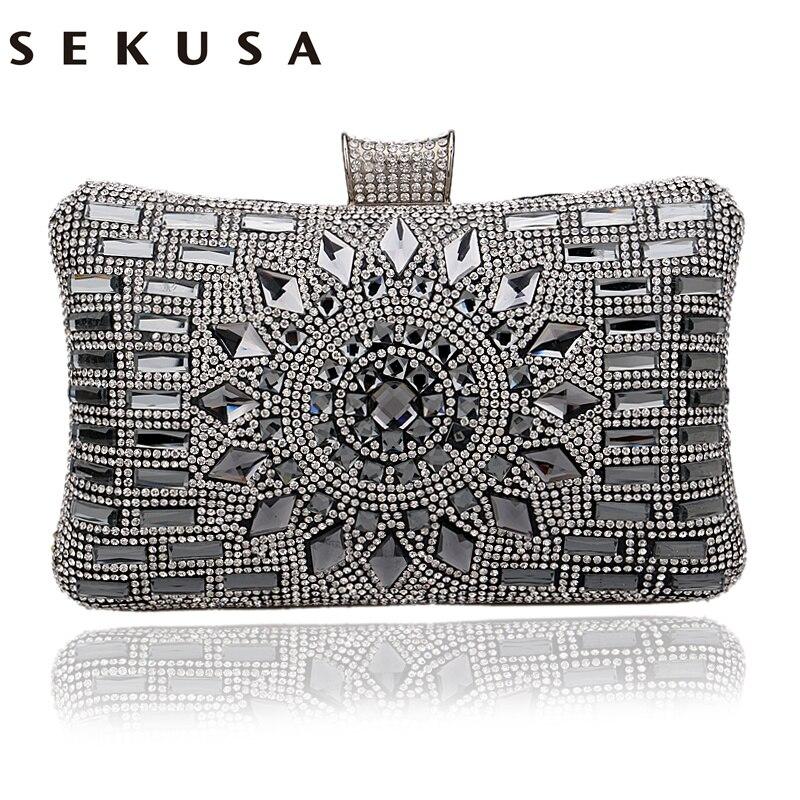 261a2e1a5 SEKUSA Acrílico Mulheres Bolsas de Diamantes Sacos de Noite de Embreagem  Sacos de Mensageiro Do Ombro Para O Casamento Festa Jantar Garras Pequena  Dia