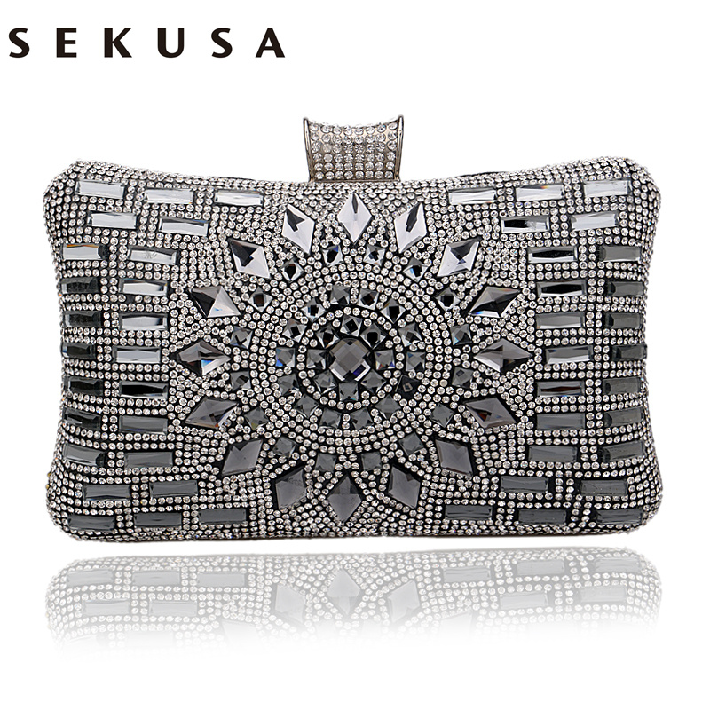 SEKUSA Acrylic Women Handbags Diamonds Clutch Evening Bags Messenger Shoulder Bags For Wedding/Party/Dinner Small Day Clutches free shipping 2015 top gifts new bride rhinestone evening bags punk colored acrylic diamonds clutch bag shoulder handbags 0430
