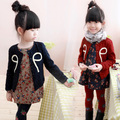 Free shipping new arrival children's clothes bowknot printing joker round neck long sleeve coat girl's cardigan
