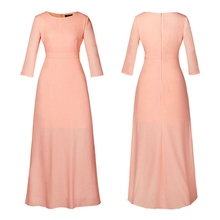 Fashion Womens Long Chiffon Vintage Sleeve Evening Formal Party Prom Ball Gown Maxi Dress