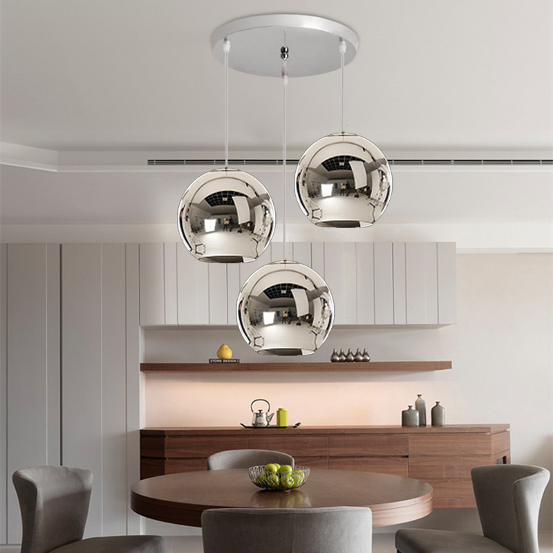 US $103.55 48% OFF|3X Silver Glass Modern Pendant Lights Kitchen Island  Pendant Lighting Fixtures Bedroom Lighs Home Bar Hotel Pendant Ceiling  Lamp-in ...