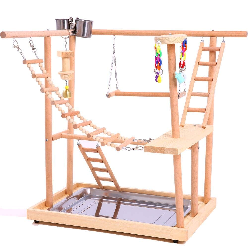 Bird Perches Nest Play Stand Gym Parrot Playpen Playstand Swing Bridge Wood Climb Ladders Wooden Conures Parakeet Macaw African mid century wooden desk