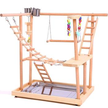 Bird Perches Nest Play Stand Gym Parrot Playpen Playstand Swing Bridge Wood Climb Ladders Wooden Conures Parakeet Macaw African