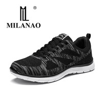 2017 MILANAO New Sports Flyknit Racer Running Shoes For Men Women Breathable Men S Athletic Sneakers