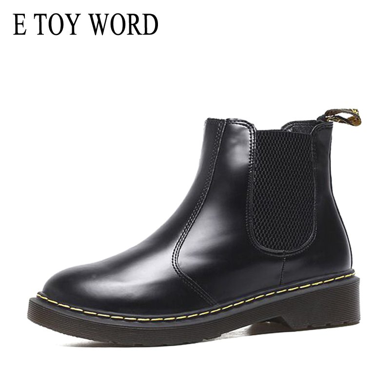 E TOY WORD women boots Elastic Band Chelsea boots women Autumn Ankle boots Round toe thick bottom Ladies Shoes Black Booties