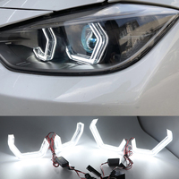 White Crystal Angel Eyes Kits ICONIC M4 Style day light DRL for BMW M4 F80 3 series F30 F31 4 series F32 3GT F34 M2 2 series