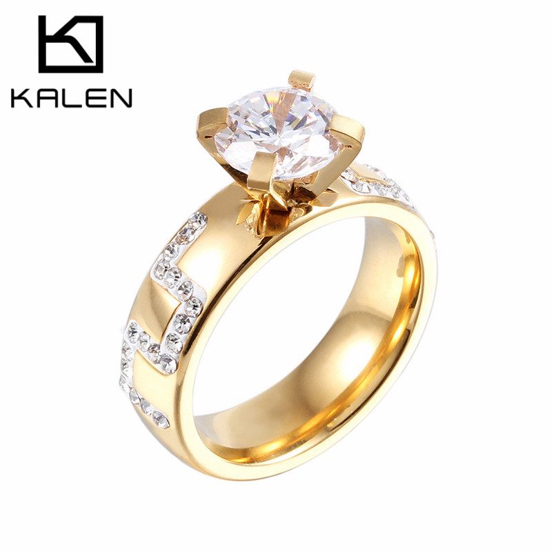 18K Gold Engagement Ring Personalized Fashion Beautiful Finger ...