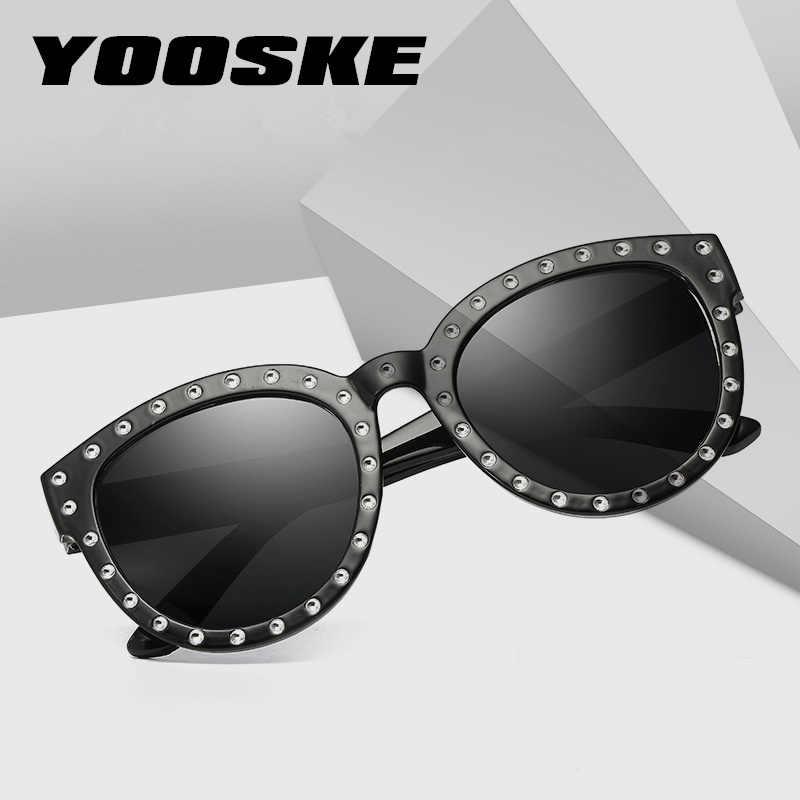 28d9f3aeb06 ... YOOSKE Rhinestone Sunglasses Women Brand Designer Round Cat Eye Frames  Sun Glasses Ladies Luxury Pink Shades ...