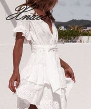 White embroidered cotton summer womens casual short-sleeved beach skirt V-neck hollow mini dress