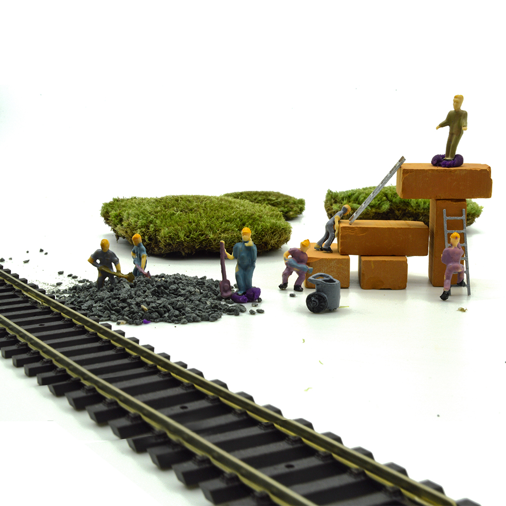 high quality 20pcs 1/87 HO scale architectural model railway workers for train layout