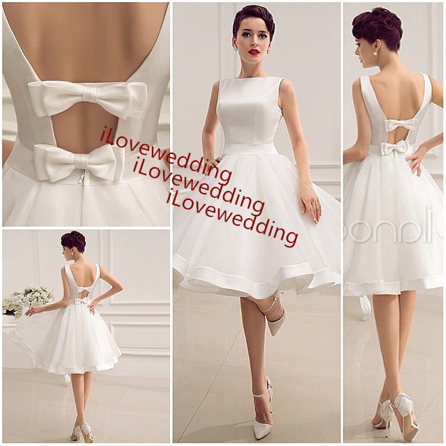Online Shop Under 100 Short Beach Wedding Dress Backless Ivory 2015 Organza Women Vestido De Noiva Summer Bridal Dresses Gown