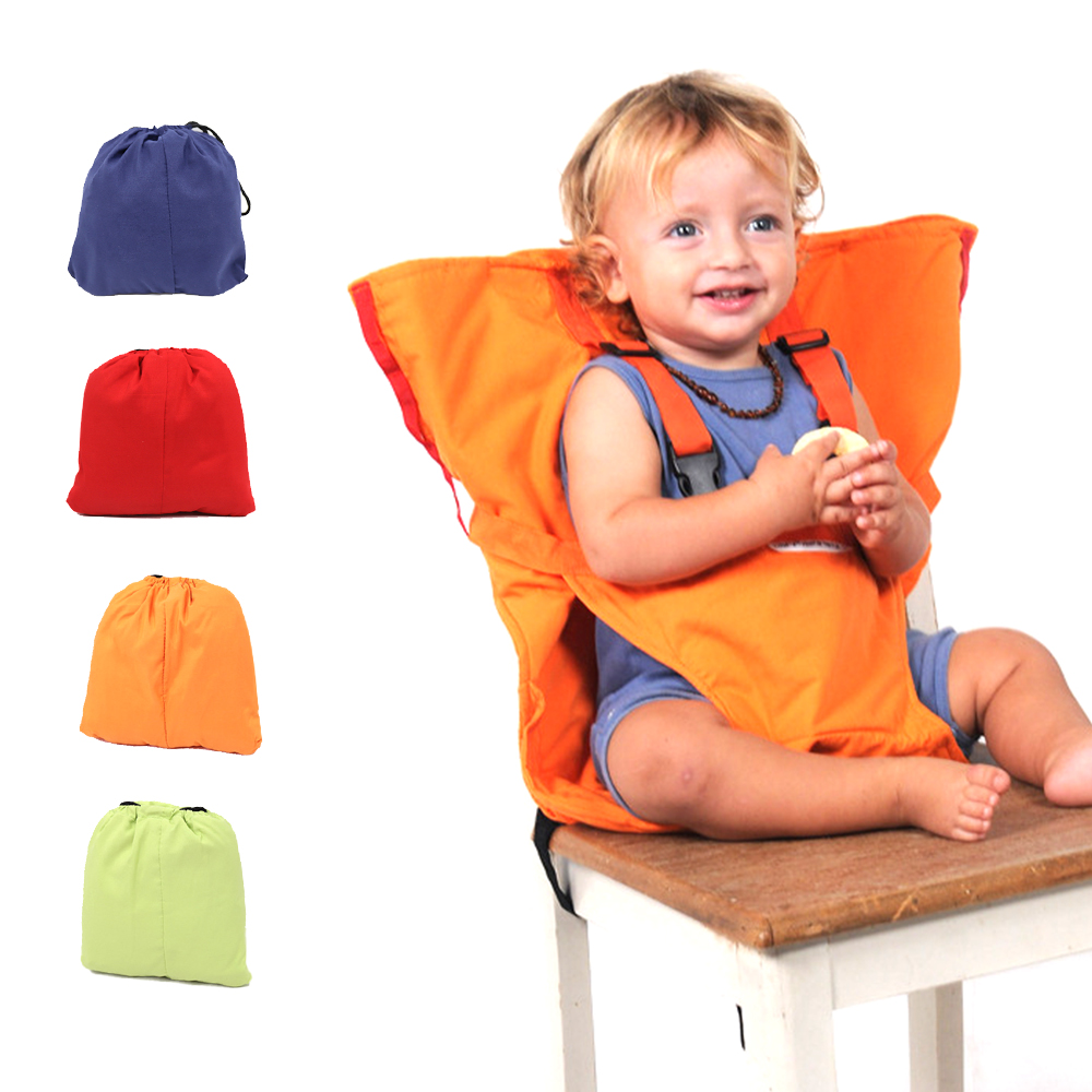Travel Foldable Baby Dining Lunch Chair Portable Infant Feeding Seat Safety Belt Washable Baby Seats High Chair Harness 4 Colors