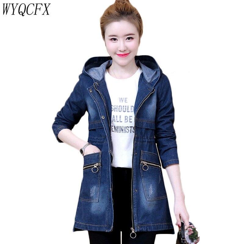 2019 Spring Autumn Women Korean Hooded Denim   Jacket   Slim   Basic   Coat Female Fashion Jeans   Jackets   Medium Long Plus Size 5XL W200