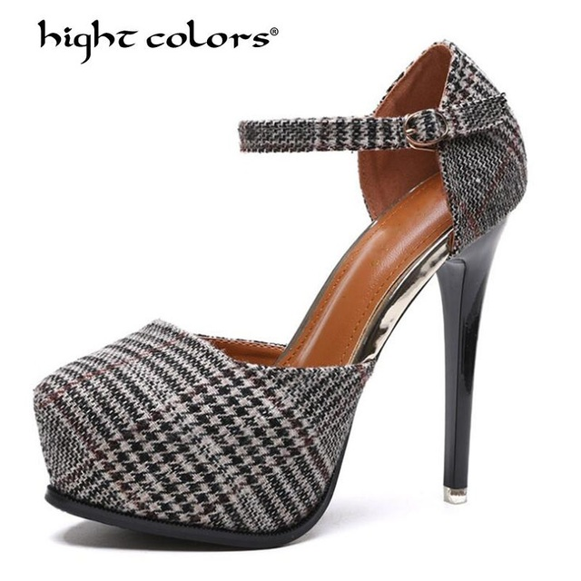 5c48f579056f 2019 New Thin High Heels Platform Shoes Women Pumps Round Toe Plaid  Footwear Stitching Ankle Strap Ladies Office Shoes Size 39