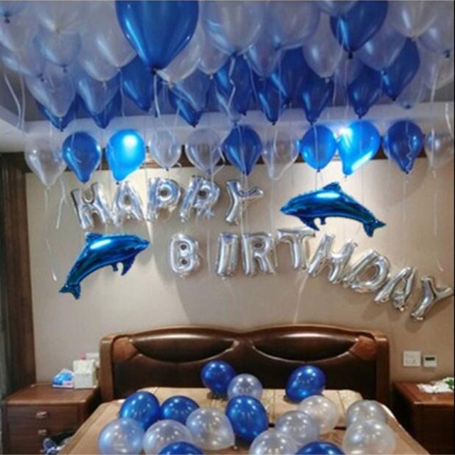Happy Birthday Balloons 1set Of Blue Ballons Cartoon Dolphins Foil Party Decorations Kids Inflatable Ball