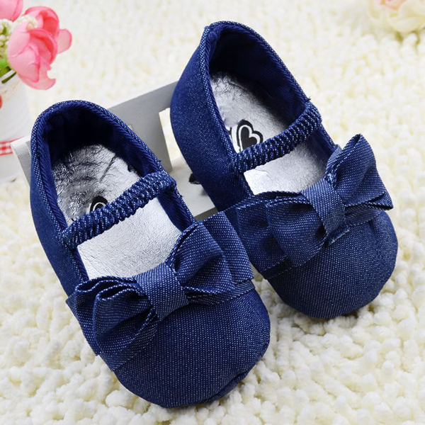 Infant Baby Girl Soft Sole Shoes Toddler Bowknot Crib Shoes Denim Prewalker First Walkers