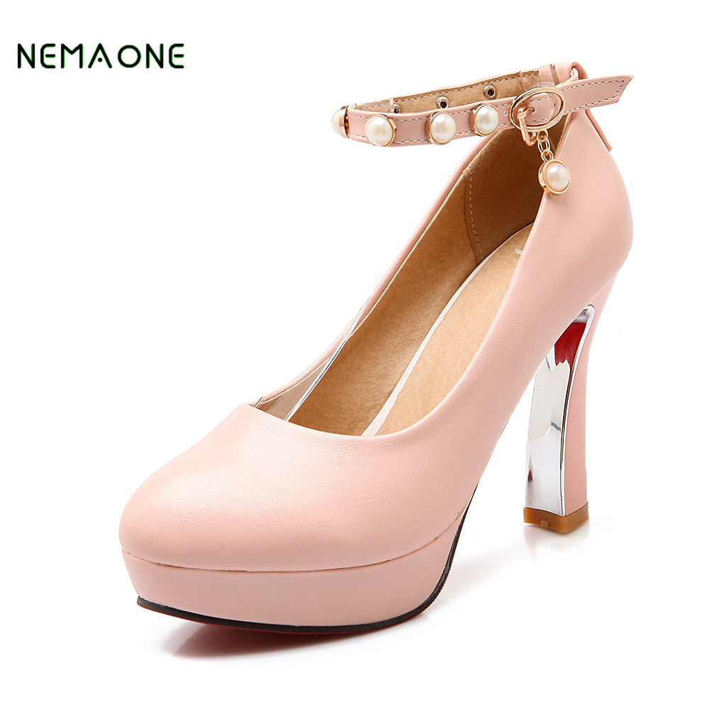 NEMAONE 2018 NEW Shoes Woman High Heels Pumps Pink High Heels Women Shoes High Heels Wedding Shoes Pumps baoyafang white red tassels women wedding shoes bride 12cm 14cm high heels platform shoes woman high pumps female shoes