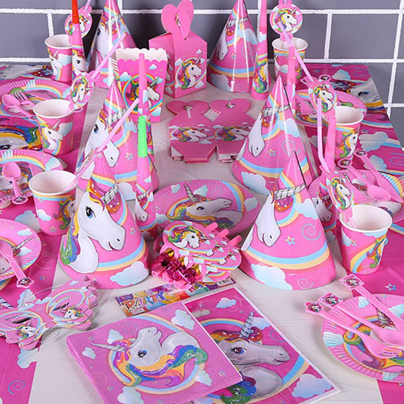 Iridescent Unicorn Kids Childrens Birthday Party Supplies Tableware /& Decoration